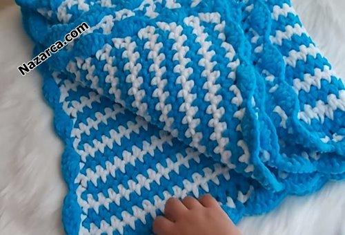 Dikdortgen-kadife-mavi-beyaz-bebek-battaniye
