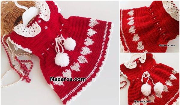 Nazarca-Kirmizi-tig-model-beyaz-yakali-kalpli-elbise