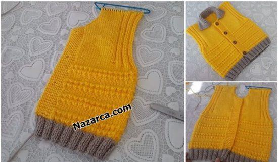 Nazarca-sari-fare-disi-model-yakali-bebek-yelek