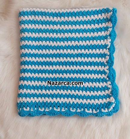 nazarca-mavi-kadife-ipli-battaniye-yapimi