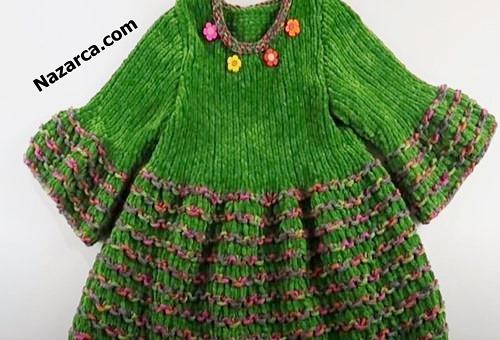 2-3-yasa-yesil-kadife-cicekli-kiz-elbise