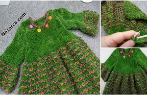 Nazarca-cimenli-cicekli-yesil-kadife-iple-bebek-elbise