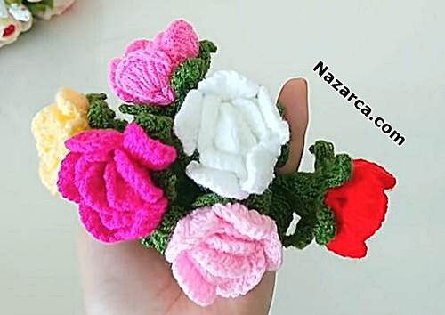 Amigurumi-Rose-keychain